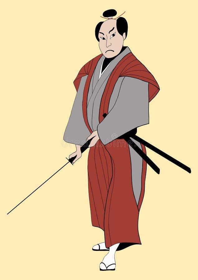 Samurai with sword vector illustration