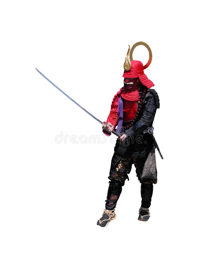 Samurai with sword-fighting po royalty free stock photography