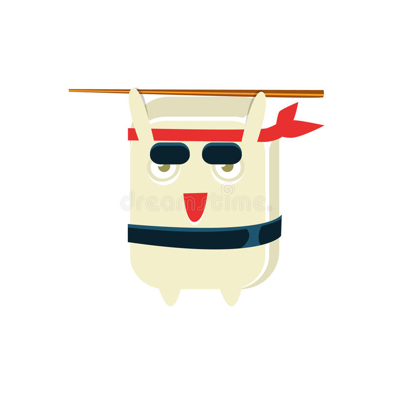 Samurai Training Funny Maki Sushi Character. Silly Childish Drawing Isolated On White Background. Funny Creature Colorful Vector Sticker stock illustration
