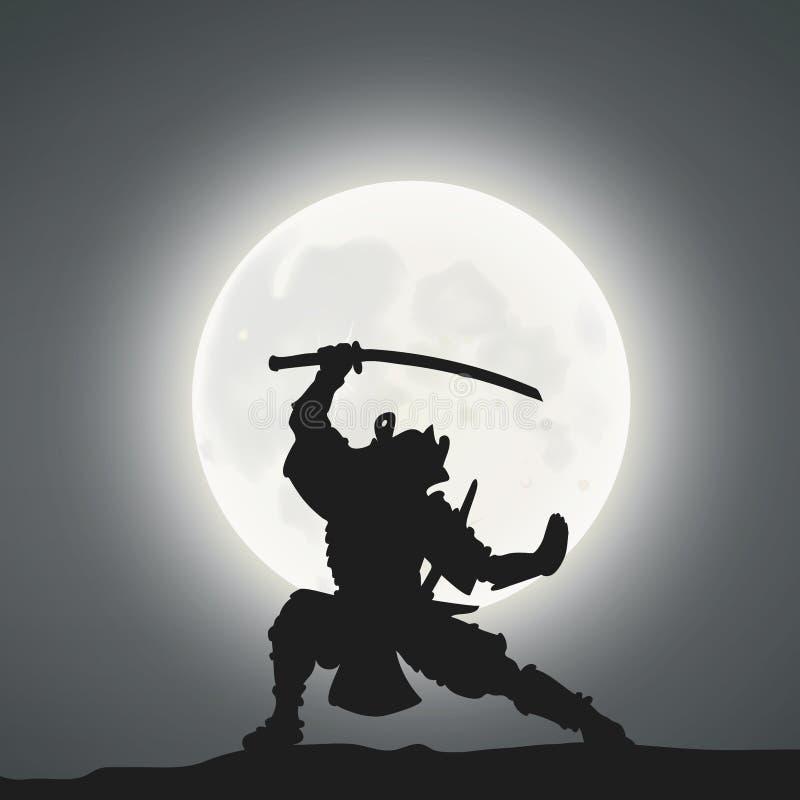 A Samurai Under The Moonlight.  stock illustration