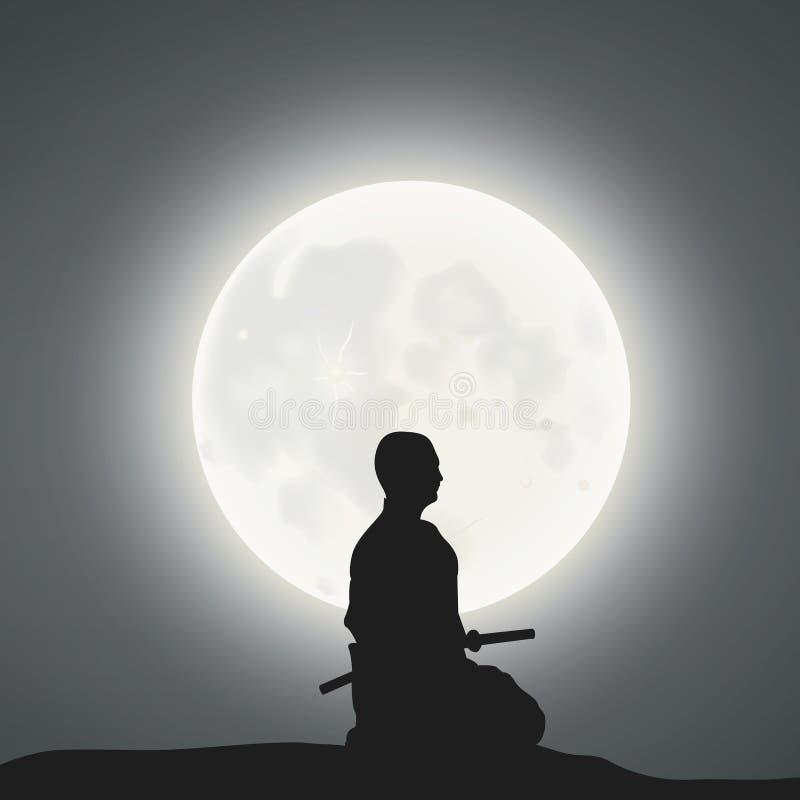A Samurai Under The Moonlight. A Japanese Samurai Under The Moonlight vector illustration