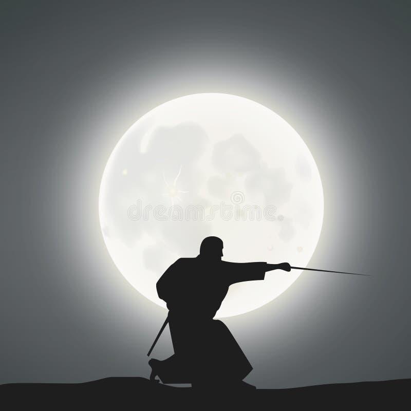 A Samurai Under The Moonlight.  vector illustration