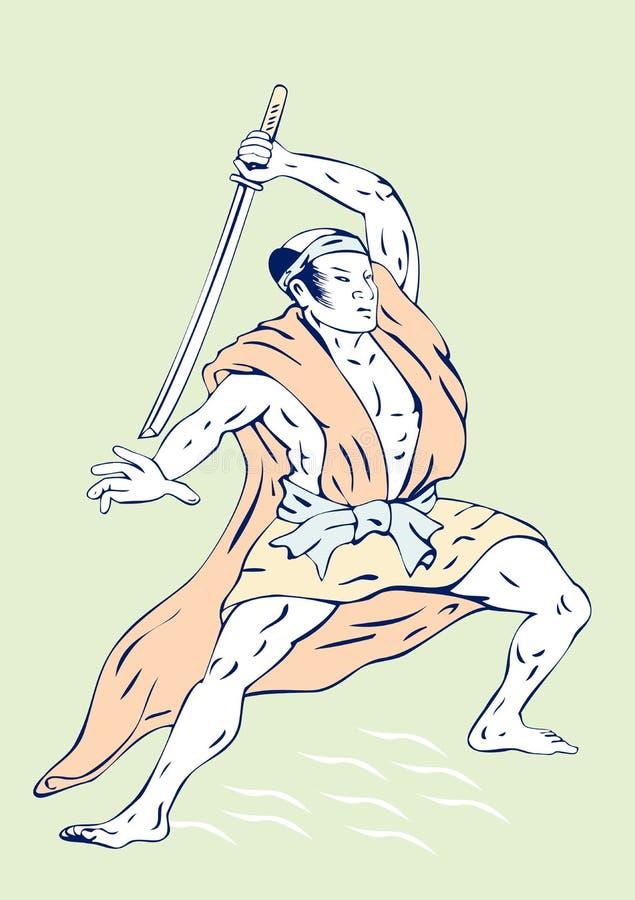 Samurai warrior royalty free illustration