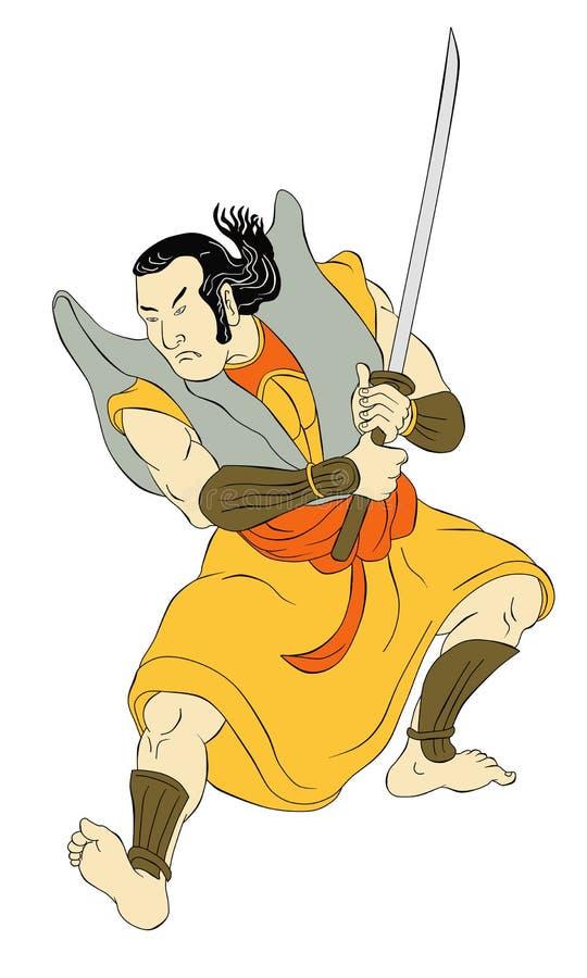 Download Samurai Warrior With Katana Sword Fighting Stance Stock Illustration - Image: 20327173