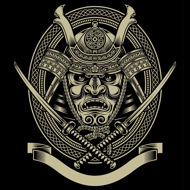 Samurai Warrior With Katana Sword vector illustration