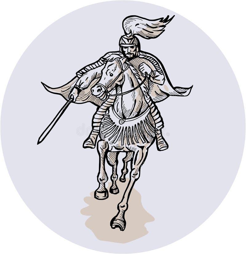 Samurai Warrior With Katana Sword Horseback Etching vector illustration
