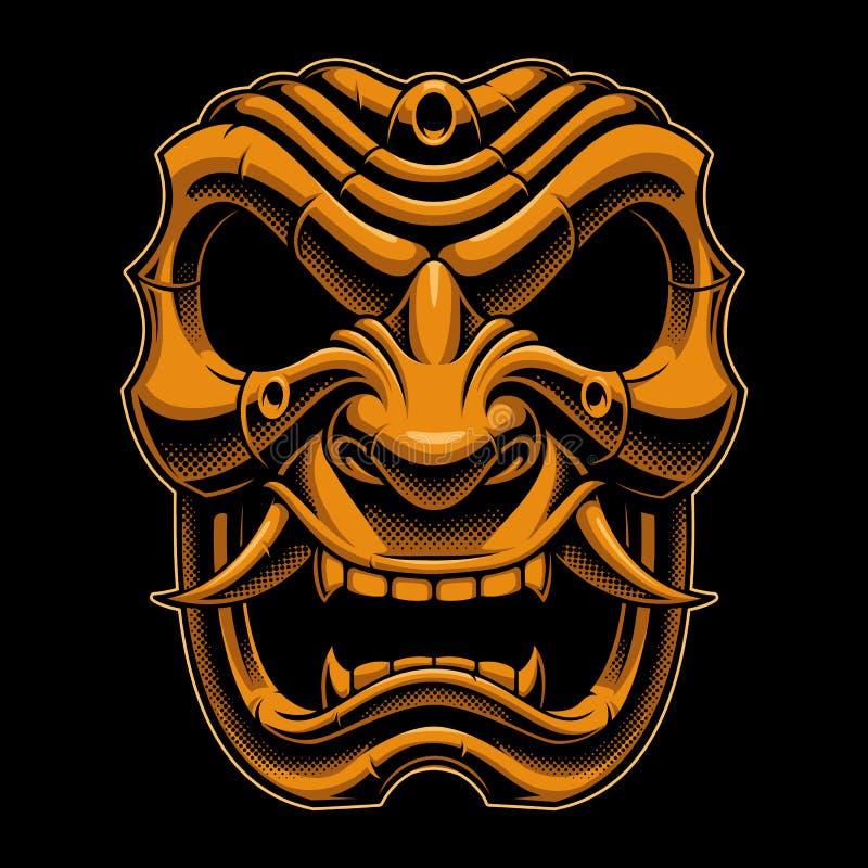 Samurai warrior mask royalty free illustration