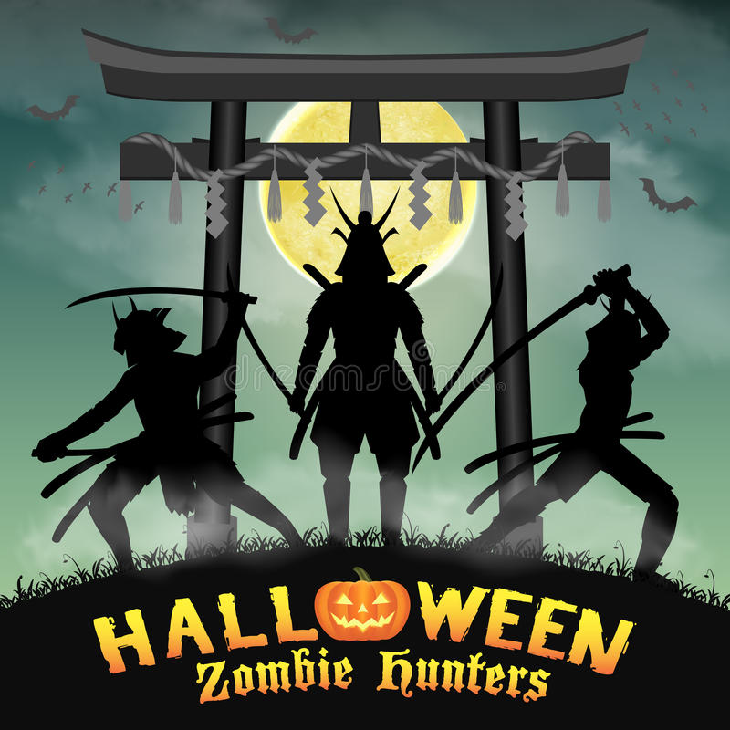 Samurai zombie hunter with japan style temple gate. A samurai zombie hunter with japan style temple gate royalty free illustration