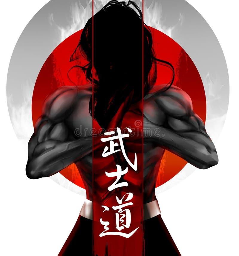 Samuraihaltung stock abbildung