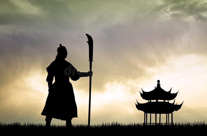 Samurais bei Sonnenuntergang vektor abbildung