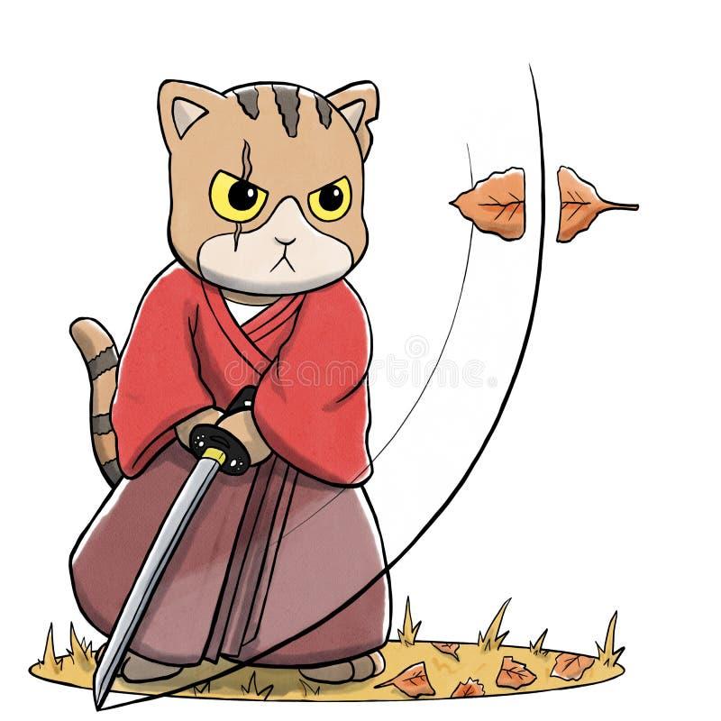 Samurais Cat Cutting Falling Leaf mit Klinge stock abbildung