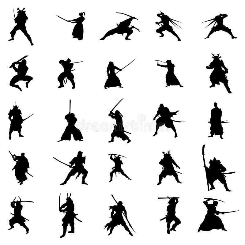 Samurajów wojowników sylwetki set ilustracji