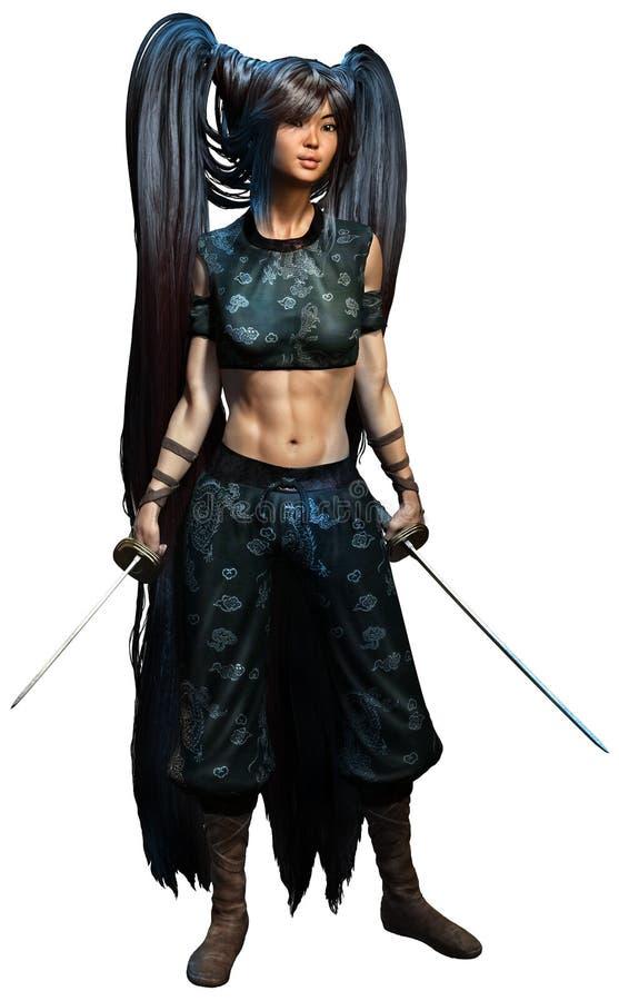 Samuraj kobieta ilustracji