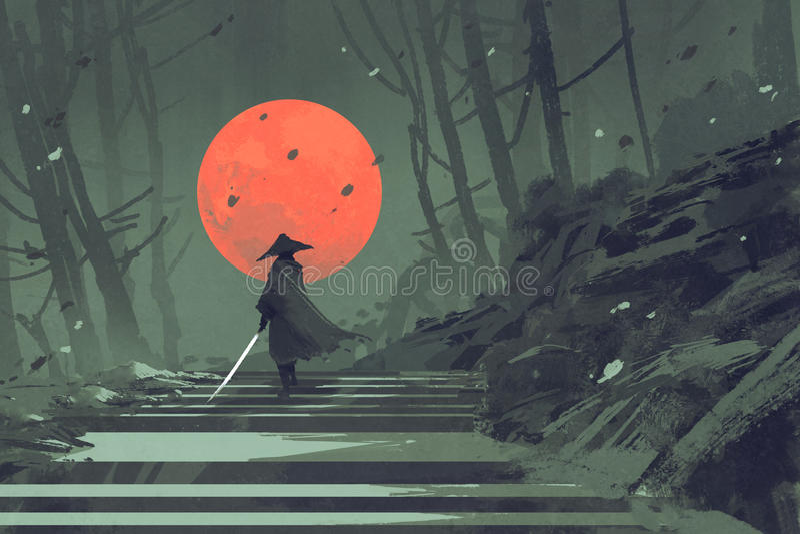 Samuraj pozycja na schody w noc lesie z czerwoną księżyc na tle ilustracja wektor