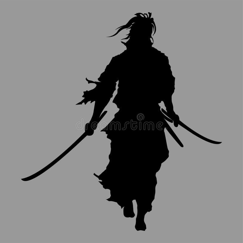 Samuraj sylwetka royalty ilustracja