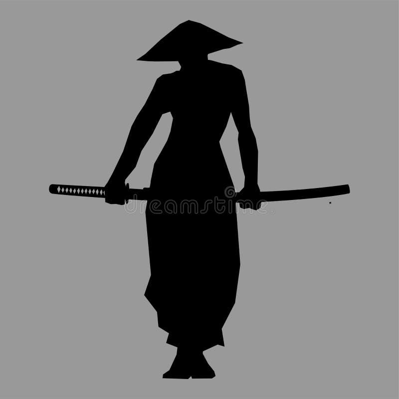 Samuraj sylwetka ilustracja wektor