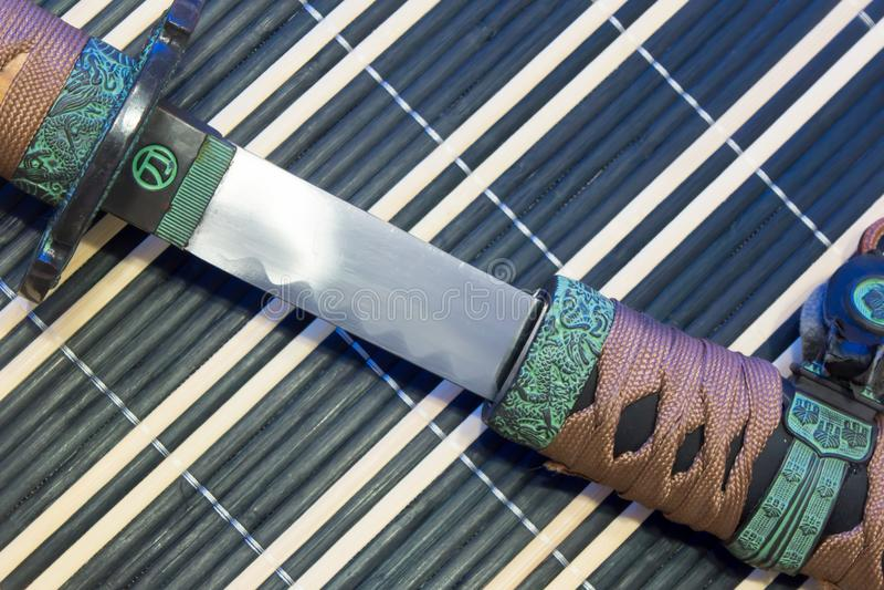 Samuraja kordzik sztuka bronie od antycznego Japonia, katana zdjęcie royalty free