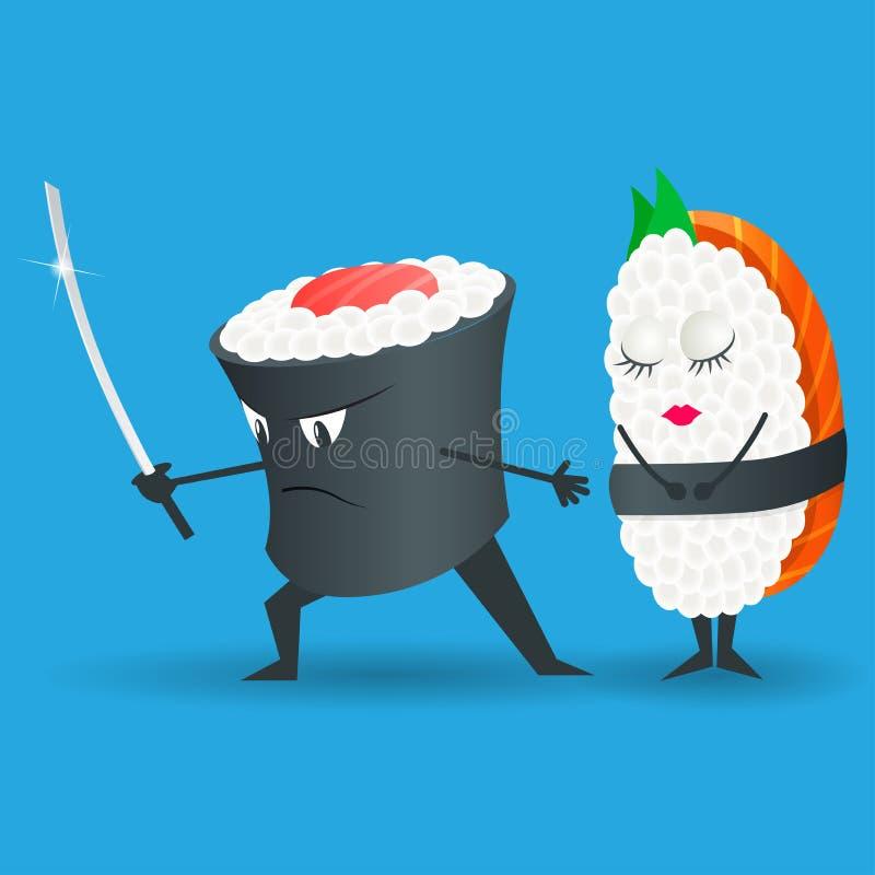 Samuraja suszi postać z kreskówki wektorowa ilustracja Japoński jedzenie czarny zestaw strzały sushi Loga suszi ilustracja wektor