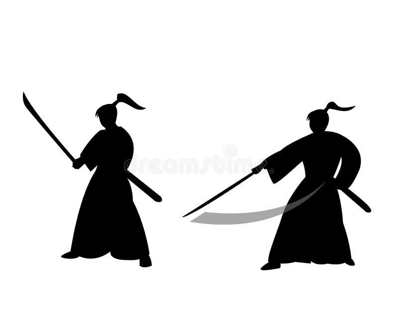 Samuraja wojownik w sylwetka stylu ilustracja wektor
