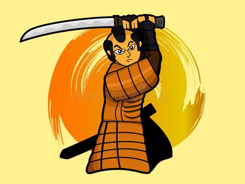 Samuraja wojownika kołyszący kordzik lub katany kreskówka ilustracji