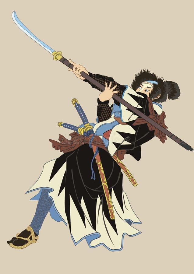 Samurajer med 2 ord royaltyfri illustrationer