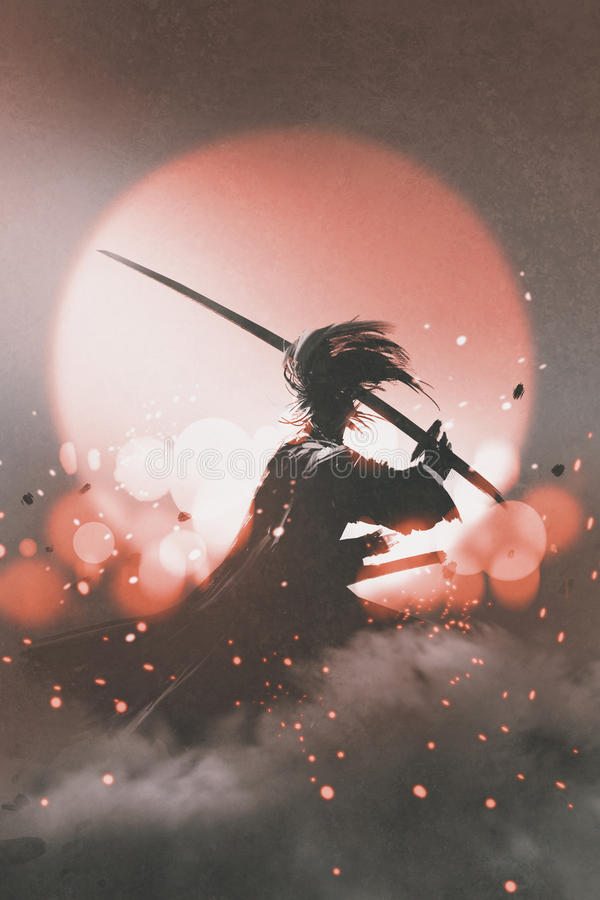 Samurajer med svärdanseende på solnedgångbakgrund stock illustrationer