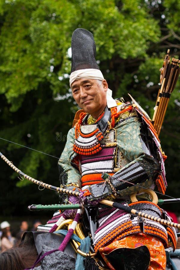 Samurajer på den Jidai Matsuri festivalen, Kyoto, Japan arkivfoton