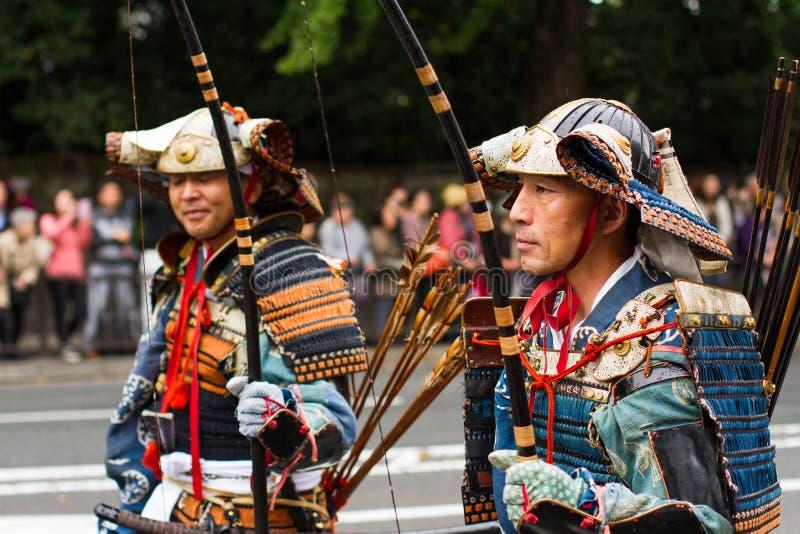 Samurajer på den Jidai Matsuri festivalen Kyoto, Japan royaltyfri fotografi
