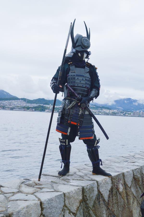 Samurajer på den Miyajima ön 2015 arkivfoton