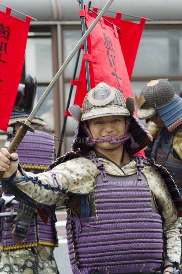 Samurajer på den Nagoya festivalen, Japan royaltyfri fotografi
