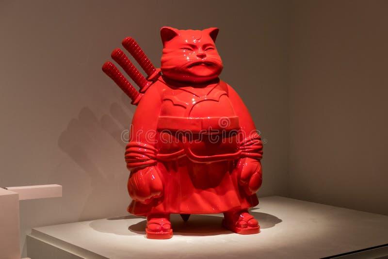 Samurajkattskulptur av den japanska konstnären Hiro Ando Israel Museu arkivbild