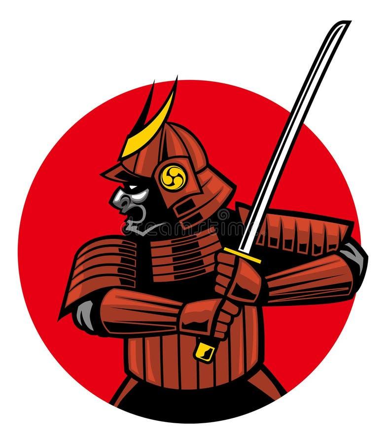 Samurajkrigaremaskot royaltyfri illustrationer