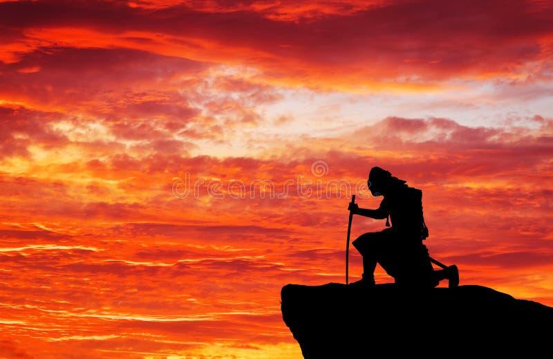 Samurajowie na górze góry obrazy royalty free