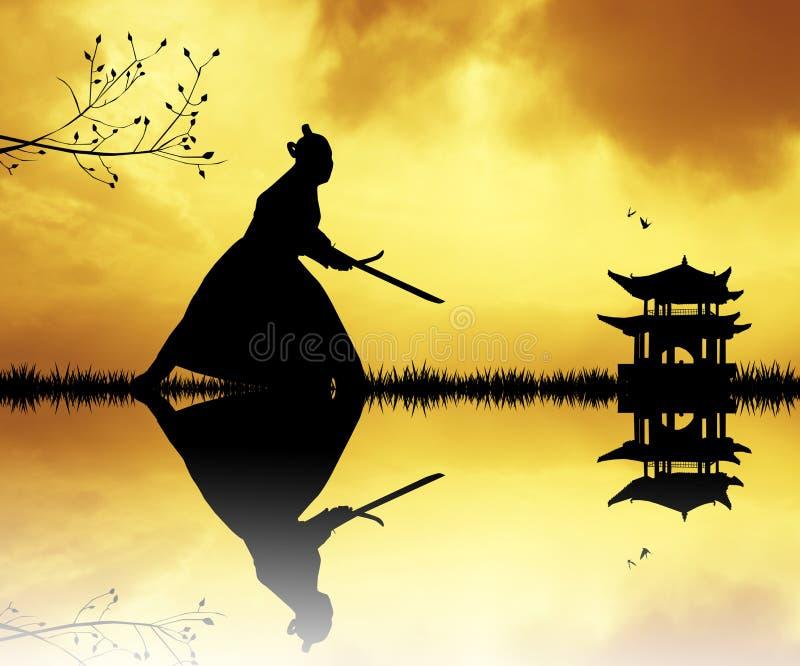 Samurajowie z kordzikami przy zmierzchem ilustracja wektor