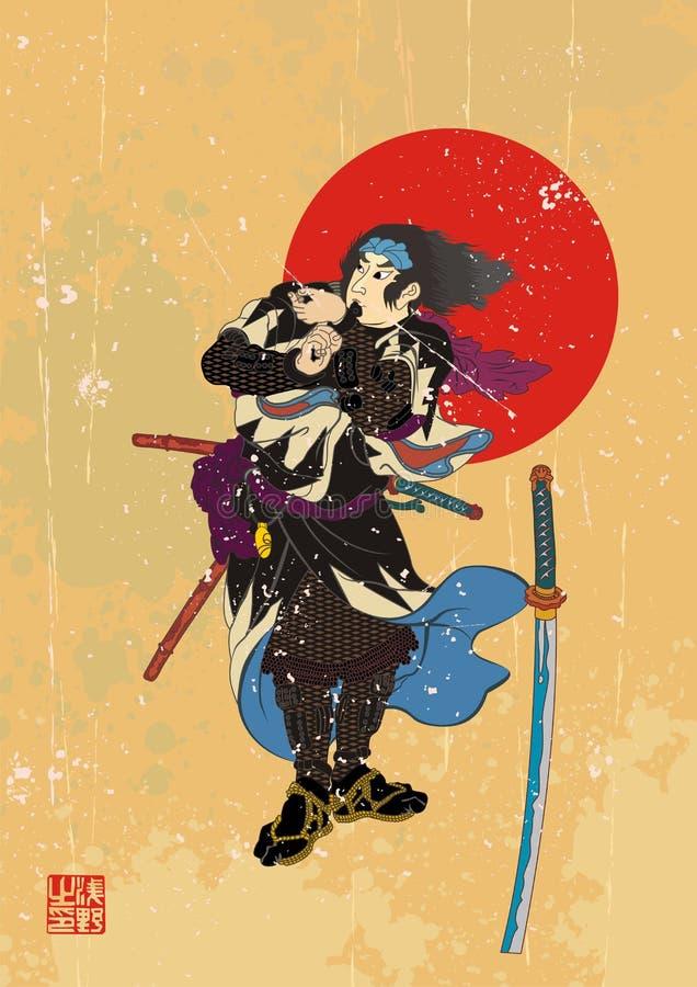 Samurajowie z 2 słowami ilustracji