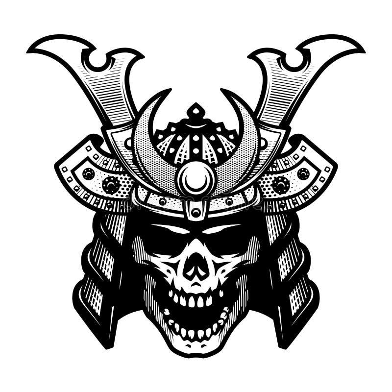Samurajskalle Krigarehjälm i svartvit stil också vektor för coreldrawillustration royaltyfri illustrationer