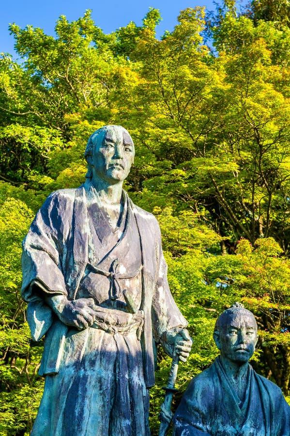 Samurajstatyn i Maruyama parkerar, Kyoto royaltyfria bilder