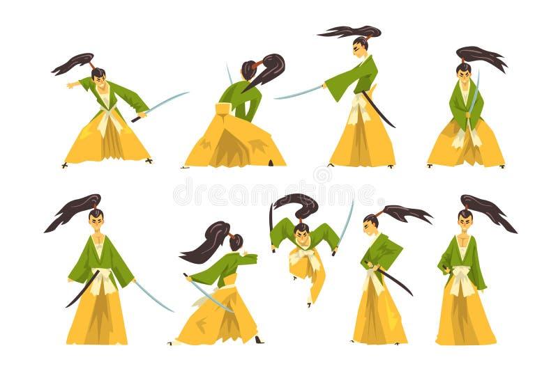 Samurajtecknad filmtecken - uppsättning, japansk krigare i traditionell kläder som slåss med illustrationen för katanasvärdvektor stock illustrationer