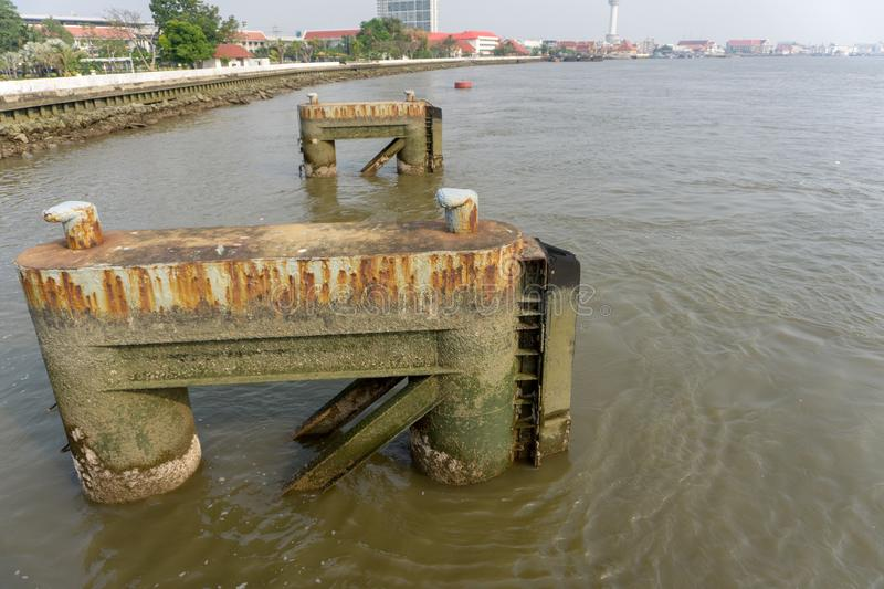 Concrete docks for support large ship at Tha Sue Son Leb pier inside Royal Thai Navy academy royalty free stock image