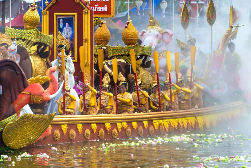 Boat parade Lotus Receiving Festival the end of Buddhist Lent day tradition Wat Bangplee yai nai temple. SAMUT PRAKAN,THAILAND - 23 OCT, 2018 : Boat parade Lotus stock image