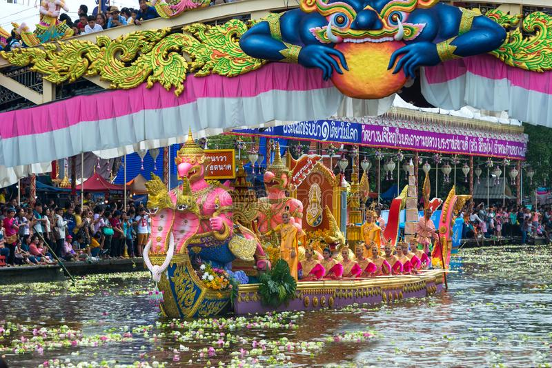 Boat parade Lotus Receiving Festival the end of Buddhist Lent day tradition Wat Bangplee yai nai temple. SAMUT PRAKAN,THAILAND - 23 OCT, 2018 : Boat parade Lotus stock photo