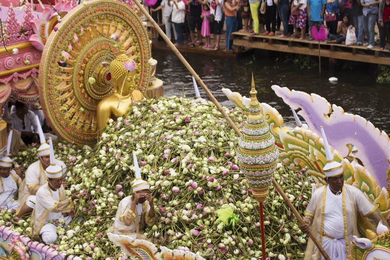 SAMUT PRAKARN, THAILAND-OCTOBER 7日2014年:给节日的莲花 免版税库存照片