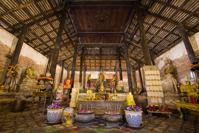 Interior of old church of Thai temple with Buddha statues and altar in Wat Yai Ban Bo - Samut Sakhon, Thailand stock photos