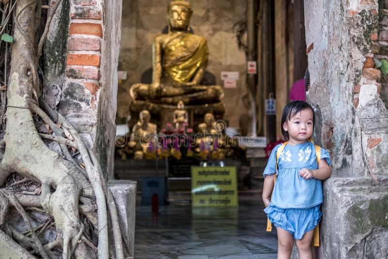 SAMUT SONGKHRAM THAILAND, 27 February 2018: Unidentified people pray golden Buddha statue inside the ancient temple of Wat Bang. Kung, Thailand royalty free stock photography