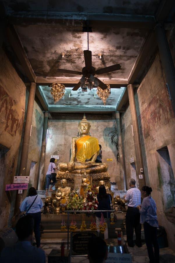 Samut Songkhram,Thailand - June 11 , 2016: People in thai temple. For editorial use only. Samut Songkhram,Thailand - June 11 , 2016:A lot of people in thai stock image