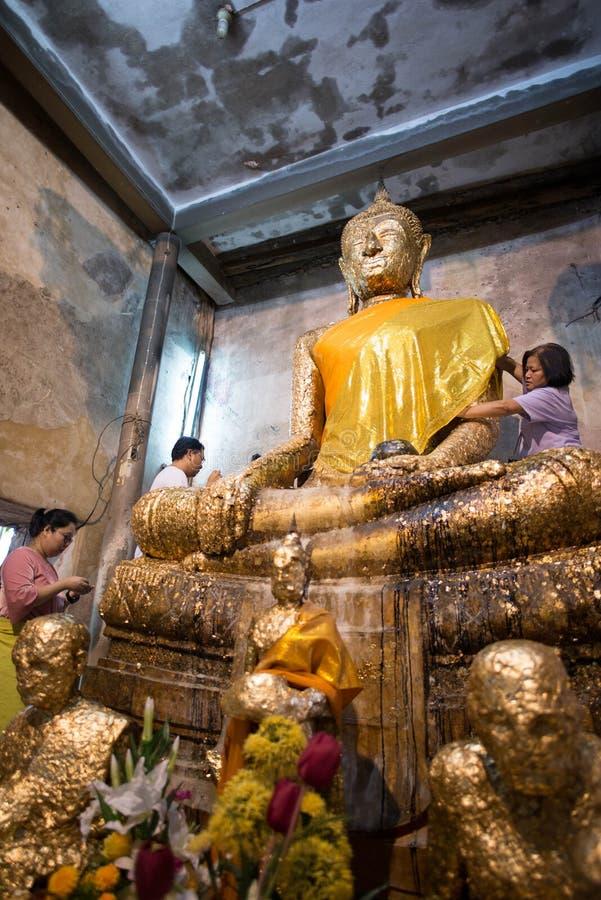 Samut Songkhram,Thailand - June 11 , 2016: People in thai temple. For editorial use only. Samut Songkhram,Thailand - June 11 , 2016:A lot of people in thai royalty free stock image