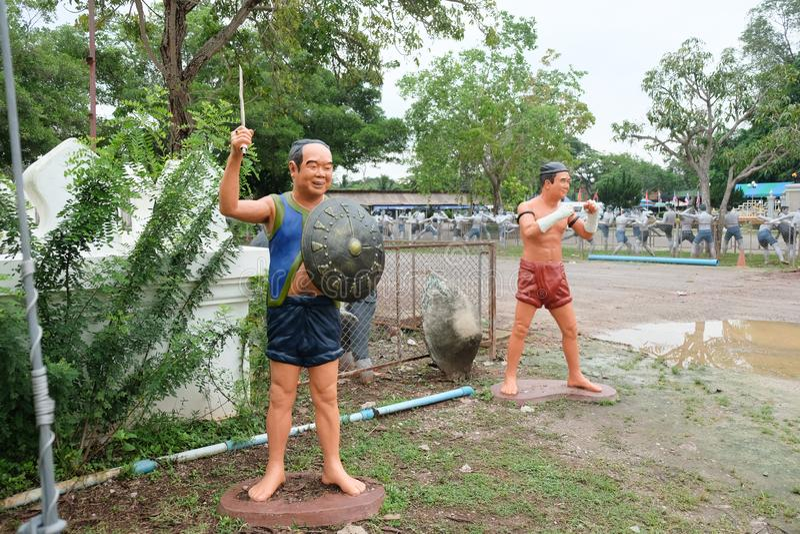 Samut Songkhram, Thailand - Oct 5, 2018 : Muay thai statue at Wat Bang Kung temple, Samut Songkhram royalty free stock photos