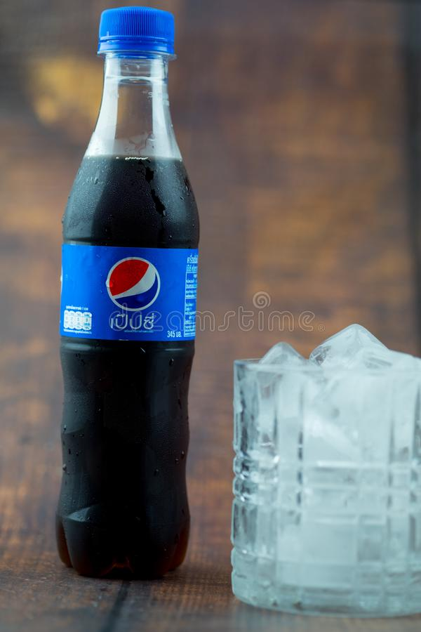 Samutprakarn, Tajlandia - 30 Czerwiec, 2019 Pepsi mi?kki nap?j Pepsi jest carbonated miękkim napojem produkującym i fabrykującym  zdjęcie stock
