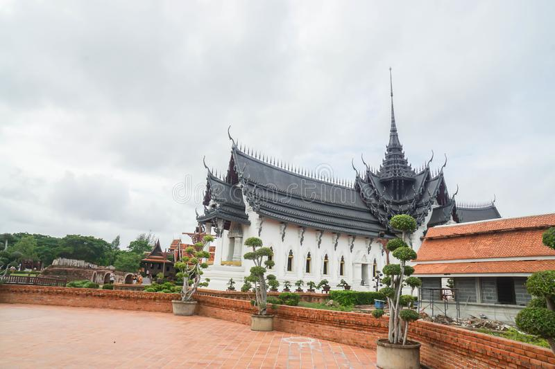Samutprakarn / Thailand - August 12 2019: beautiful vintage palace in museum of Ancient City for tourist study. Samutprakarn / Thailand - August 12 2019 stock images
