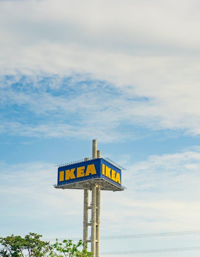 Samutprakarn, Thailand - July 23, 2018 : Ikea Billboard sign over a steel pole, on cloudy blue sky day. royalty free stock image